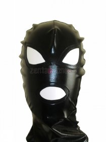 Black Shiny Metallic Zentai Hood