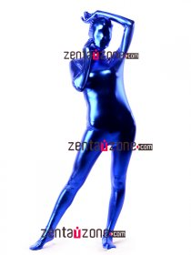Blue Shiny Metallic Unisex Zentai Full Body Suit