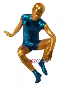 Blue Golden Shiny Metallic Zentai Full Body Suit