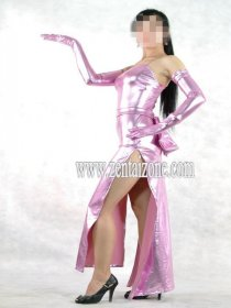 Pink Shiny Long Zentai Dress