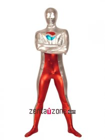 Silver Red Pepsi Logo Shiny Metallic Zentai Suit