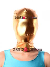 Golden Shiny Metallic Zentai Hood