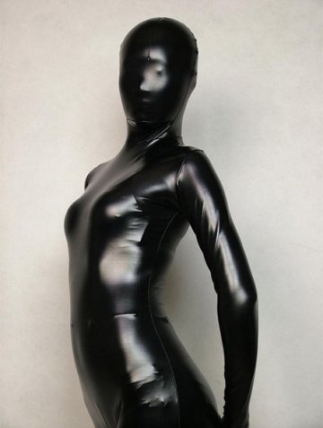 Black Shiny Metallic Zentai Suit [20207]