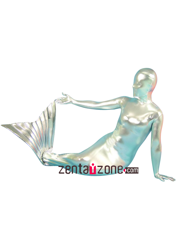 Silver Mermaid Shiny Metallic Zentai Suit - Click Image to Close