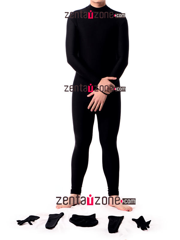 Black Lycra Spandex Zentai With Detachable Hood Hands Feet - Click Image to Close